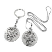 To My Husband Engraved Stainless Steel Necklace&KeyChain Wonderful Gift Birthday Anniversary Military Gift From Wife Dog Tag