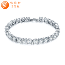 FYM 7 Colors Luxury Silver color Chain Link Bracelet & Bangle for Women Ladies Round Shining AAA Cubic Zircon Crystal Jewelry fym 6 colors link