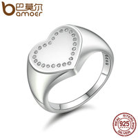 BAMOER Authentic 100 925 Sterling Silver Heart Signet Dazzling CZ Finger Ring Women Sterling Silver Jewelry
