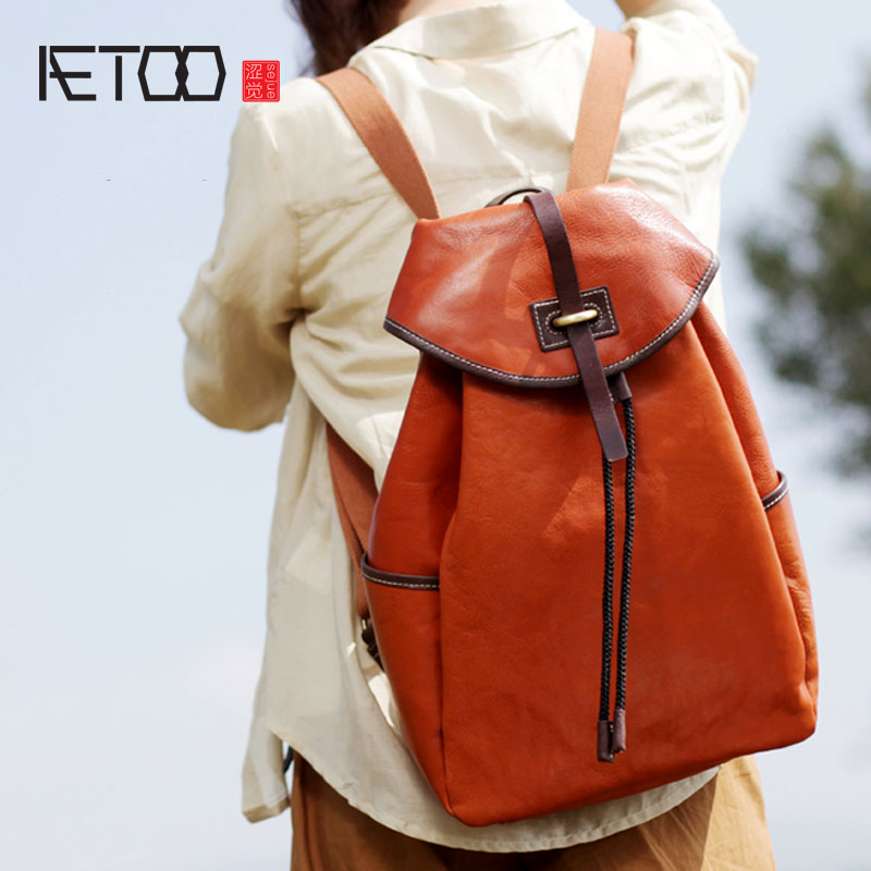 AETOO New original design retro college wind large capacity backpack British retro men and women large capacity backpack new tide package suede women bohemian wind retro backpack pu chain men and women lovers tassel bag