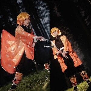 Image 3 - ROLECOS אנימה קוטלת שד קוספליי תלבושות Soubi Zenitsu Kimetsu לא Yaiba Cosplay תלבושות גברים קימונו צהוב אחיד מלא סט