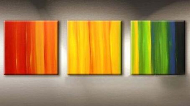 Hand Painted Colorful Rainbow Oil Painting on Canvas 3 Panel ...