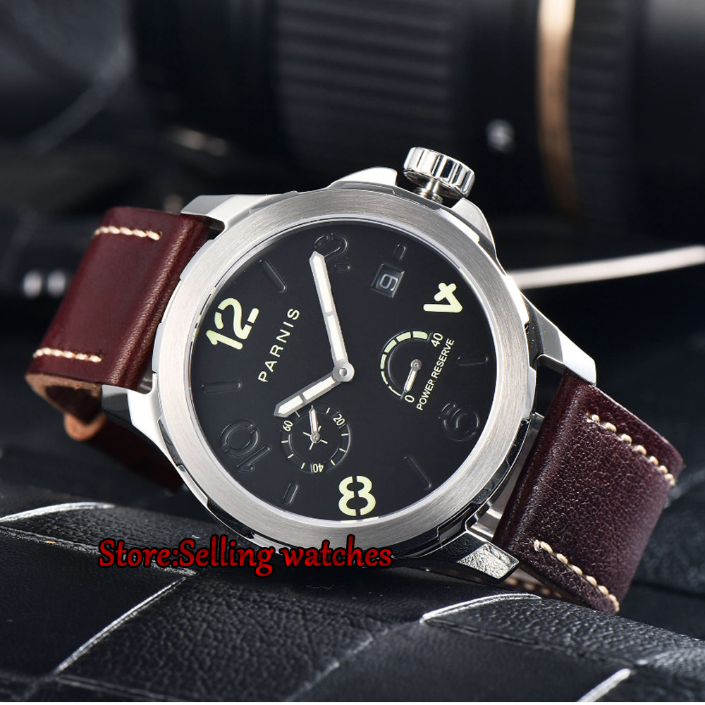 Parnis 44mm Men Mechanical Watch 2530 Power Reserved Steel Case Purse Leather Sapphire Luminous Date Automatic Self Wind Watch reserved ремень