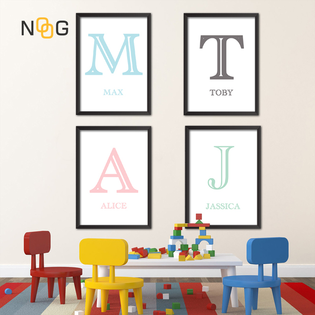 Us 8 59 Noog Poster Kinderkamer Alphabet Name Nursery Wall Art Canvas Painting Educational Abc Posters And Prints Kids Decor Pictures In Painting