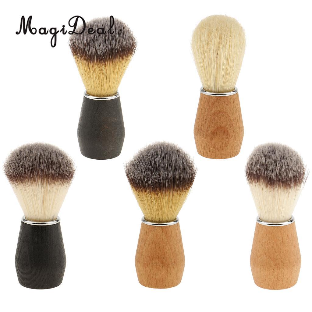 MagiDeal Men's Shaving Brush Barber Salon Men Facial Beard Cleaning Appliance Shave Tool Razor Brush with Wood Handle for men