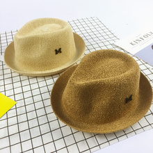 2017 New Fashion Child Sun Hat M letter knitting Panama cap Boys Girls  Summer Foldable Straw 566d5ef97bd5
