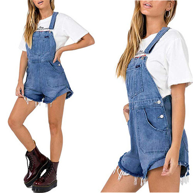 Women Denim Overalls Ripped Stretch Playsuit Dungarees High Waist Jumpsuit Girls Short Jeans Loose Shorts Rompers Jumpsuits