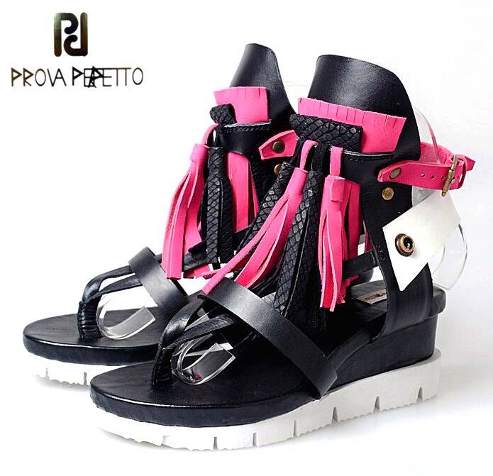 Prova Perfetto Rome Style Mixed Color Tassel Flowers Summer Sandals Shoes Thick Heel Wedge Platform Clip Toe Sandals For WomenProva Perfetto Rome Style Mixed Color Tassel Flowers Summer Sandals Shoes Thick Heel Wedge Platform Clip Toe Sandals For Women