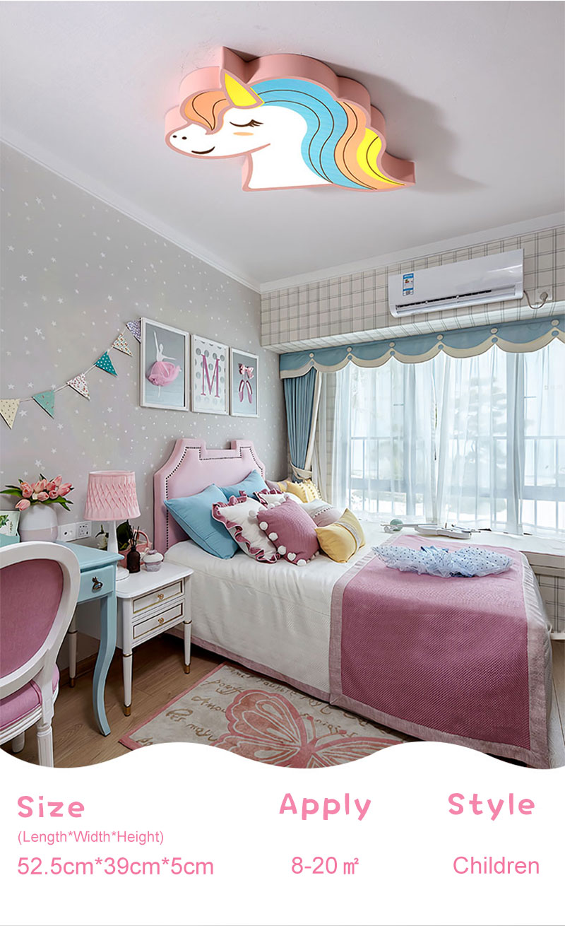 HTB16LdOaBKw3KVjSZFOq6yrDVXaH Unicorn kids room light led ceiling lights with remote control cartoon lampshade children room cute ceiling lamp deco child room