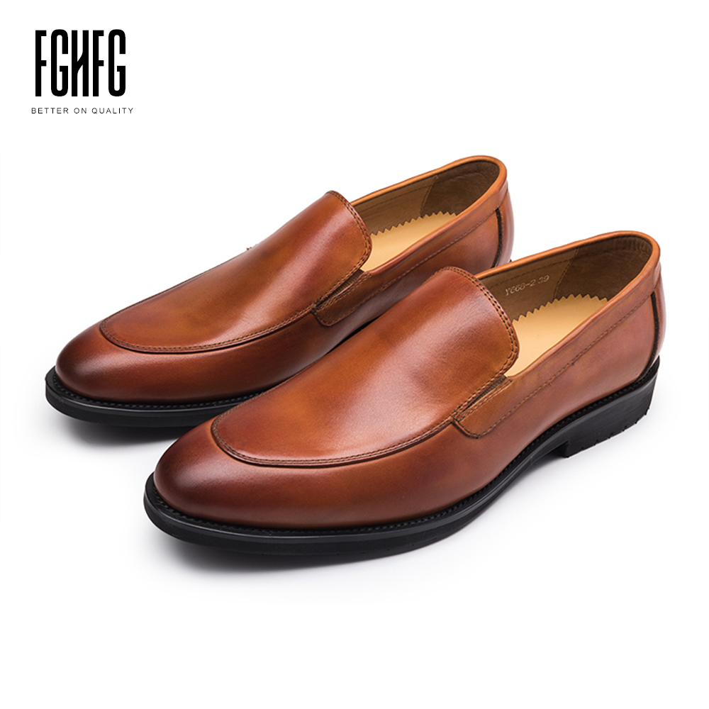 Men's Casual Shoes Cowhide Leather Pig Inner Round Toe Genuine Leather Wedding Business Dress Shoes 2018 New Slip-on classic men s genuine leather shoes cowhide leather pig inner pointed toe derby dress wedding business shoes 2018 fashion