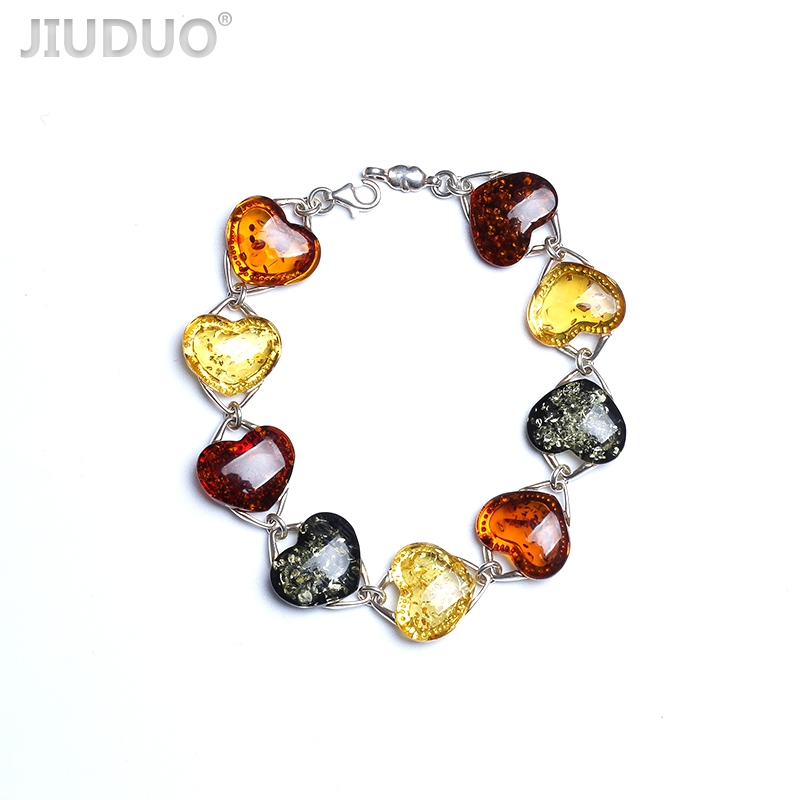 Romantic Heart Shaped Bracelet Amber bees wax original natural jewelry accessories for women bracelet 925 sterling silver brace 925 sterling silver shining multiwire shaped women s bracelet