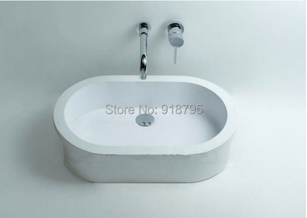 Round bathroom Solid surface stone counter top Vessel sink fashionable Corian washbasin RS3802 510