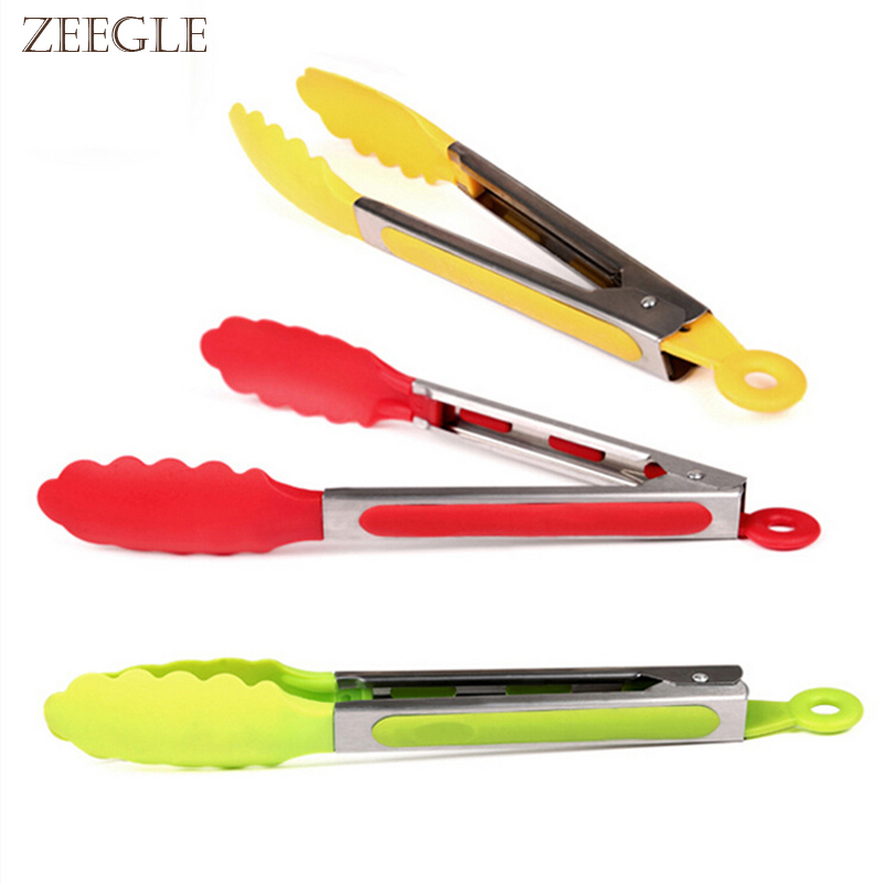 Zeegle Multifunctional Portable Barbecue Tongs Durable Food Clip Ice Tongs Cake Bread Clip BBQ Kitchen Tool 1pcs
