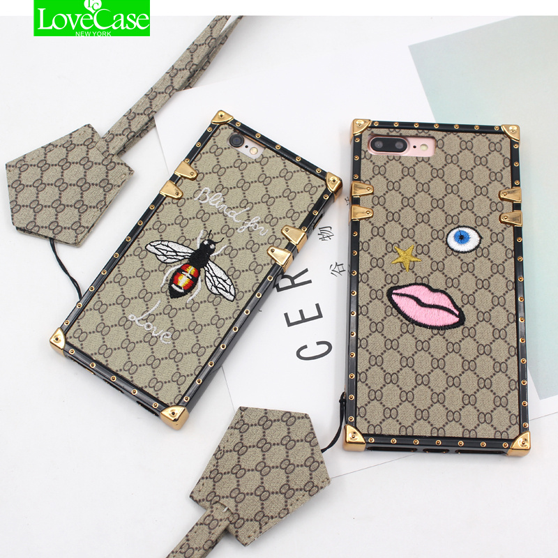 For iphone X 7 8 TPU + leather back cover case For iPhone 7 Plus 7Plus Luxury vintage phone case with lanyard high-quality case