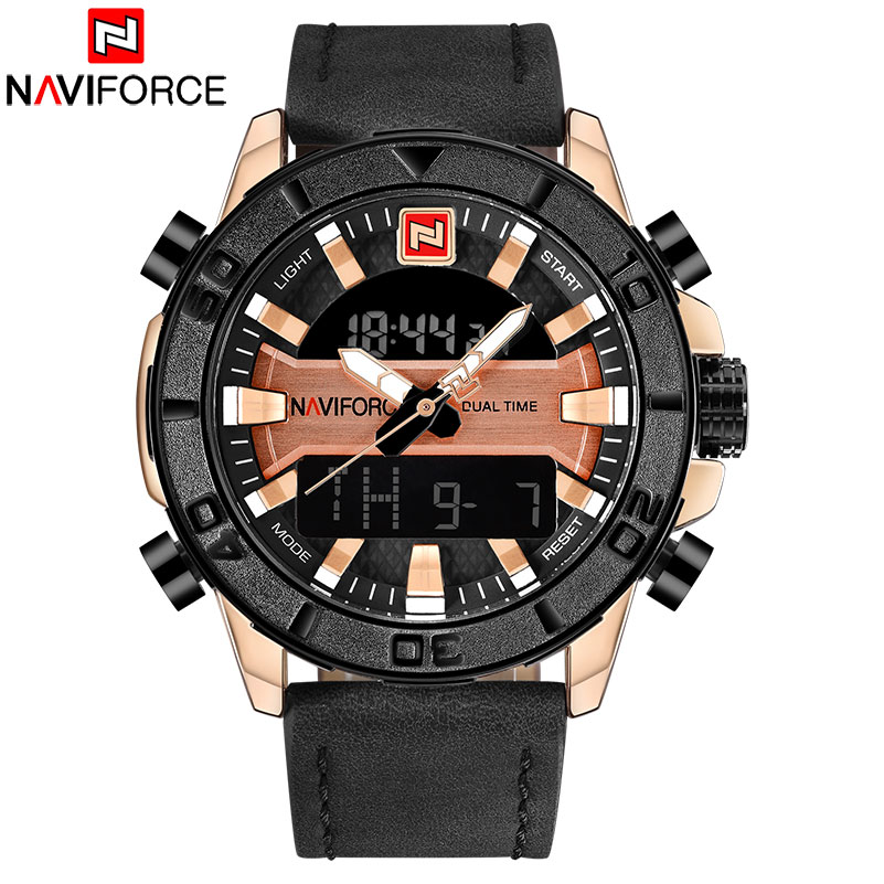 NAVIFORCE Brand Mens 30M Waterproof Sport Watch Men Stainless Steel Analog Digital LED Watches Dual Time Clock Relogio Masculino cool led watch men analog alarm s shock led digital wrist watch mens smael watch men 1637 relogio masculino sport watch running