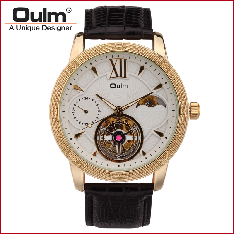 font b Oulm b font HP3682 Gold Big Dial Leather Strap Mechanical Watches for Men