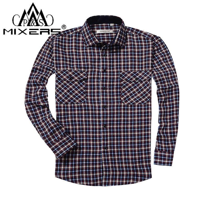 21f0d3dce60 2018 весна осень 2 нагрудный карман мужская клетчатая фланелевая рубашка с  длинным рукавом Regular Fit мужская