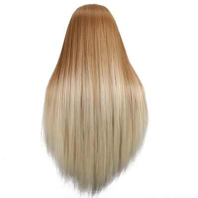 CAMMITEVER Golden White Hair Mannequin Head Hairdressing Head Female Mannequin Hairstyling Doll Training Heads