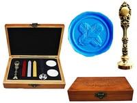 Vintage Fancy Feather Cross Luxury Wax Seal Sealing Stamp Brass Peacock Metal Handle Sticks Melting Spoon