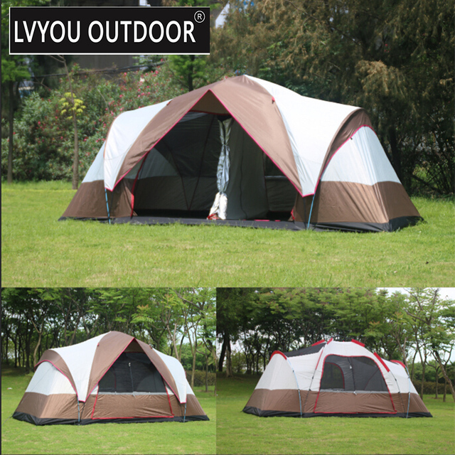 LVYOU OUTDOOR 2 Room Double-deck Tent For 6-8 Person Automatic Quick & LVYOU OUTDOOR 2 Room Double deck Tent For 6 8 Person Automatic ...