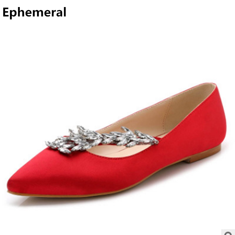 Women Wedding Flats Luxury Rhinestones Silk Shoes For Party Pointy Toe Plus Size 3-12 Breathable Slip-ons Red Green Silver Black