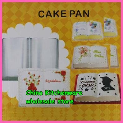 2015 Transport Tools Baking Tools for Cakes Wholesale   Book Shape Cake Pan Mold Decor Aluminum for Children/friends