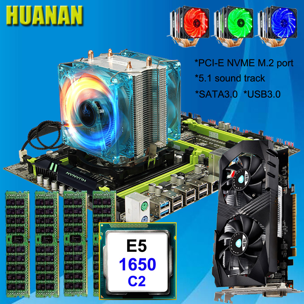 HUANAN ZHI X79 motherboard with M.2 slot CPU Xeon E5 1650 C2 3.2GHz with cooler RAM 32G(4*8G) 1600 RECC video card GTX1050Ti 4G цена