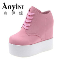 12CM Heels Wedge High Heels Zapatos Mujer Platform Heels Ladies Canvas Shoes Chaussure Femme Women School
