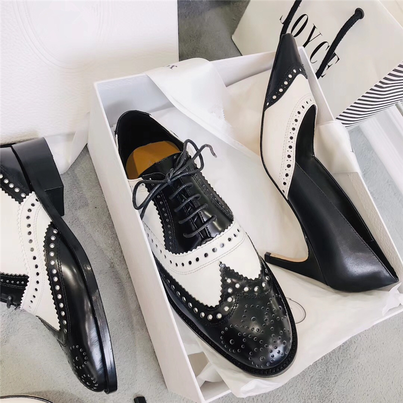 Mixed Color Womens Winged Oxford Lace Up Striped Platform Metallic Fashion Vintage Platform Bullock Flat Female Shoes Woman 40 - 2