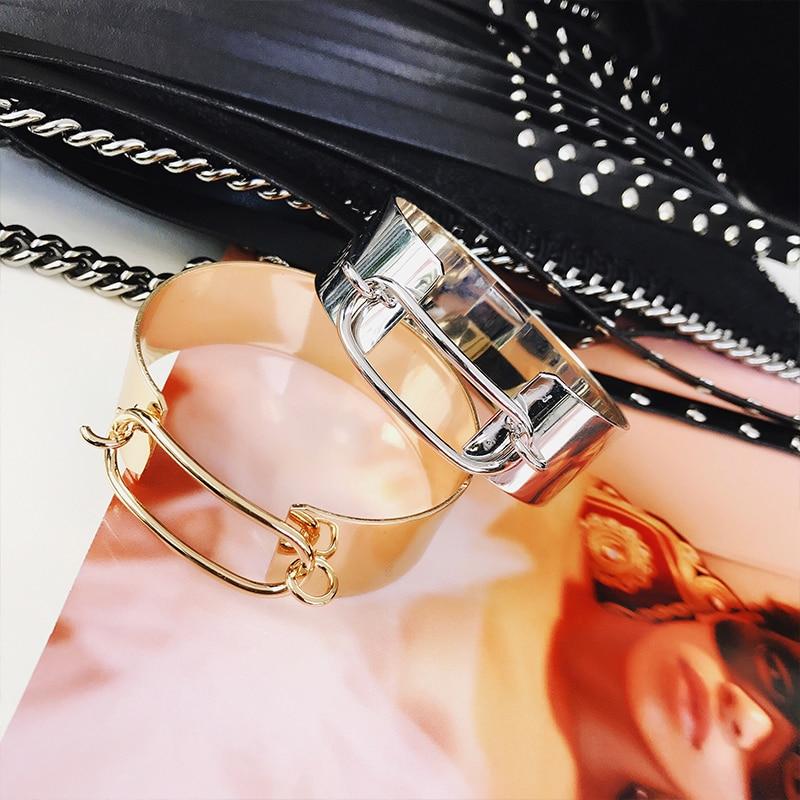 2017 New Korean Style Fashion jewelry Punk Rock Wide Flat Gold Silver Bangle Cuff Bracelet For Women Winter Sweather Accessory
