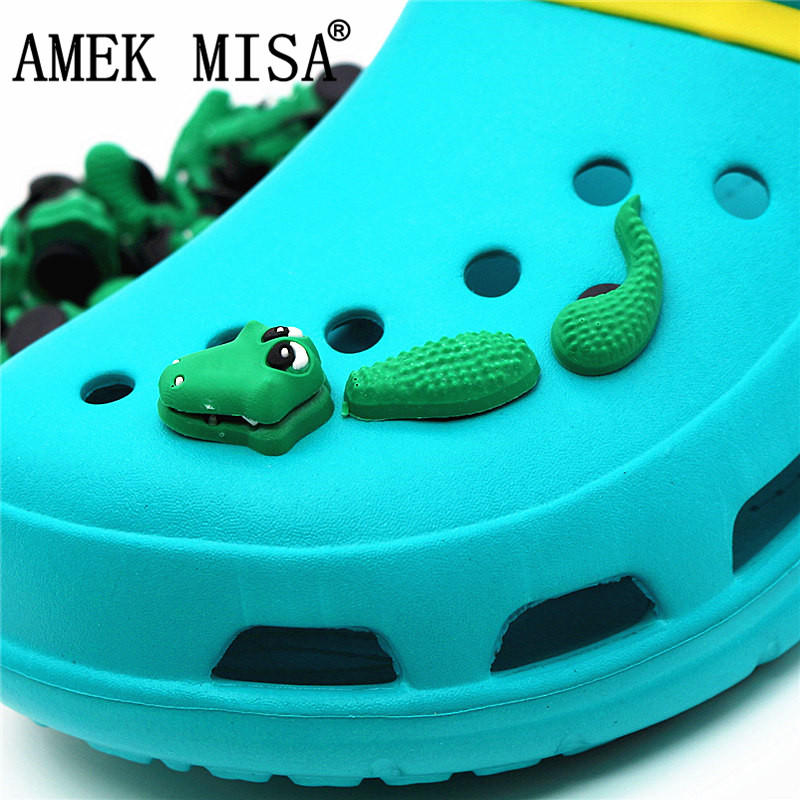3Pcs A Set Shoe Decorations Novelty Cute PVC Animal 3D Crocodile Garden Shoes Accessories Croc Buckles Charm Ornaments 3D-ey03