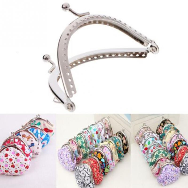 Purse Frames 8.5cm Silver Purse Metal Frame Kiss Clasp DIY Sew Bags Clutch Accessories Sewing Handbag Handle
