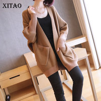 [XITAO] 2019 Spring Summer Korea Fashion New Women V neck Full Sleeve Loose Solid Color Cardigans Knitted Casual Sweater DLL2821
