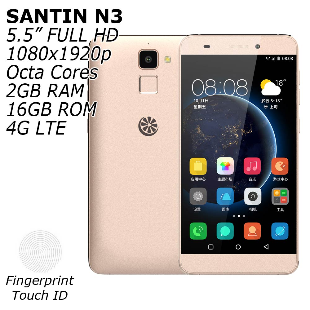 """Цена за САНТИН N3 4 Г FDD LTE 5.5 """"full hd 1080x1920 p отпечатков пальцев touch id 2 ГБ ram 16 ГБ rom mtk6753 64 бит окта основные android 5.1 телефон"""