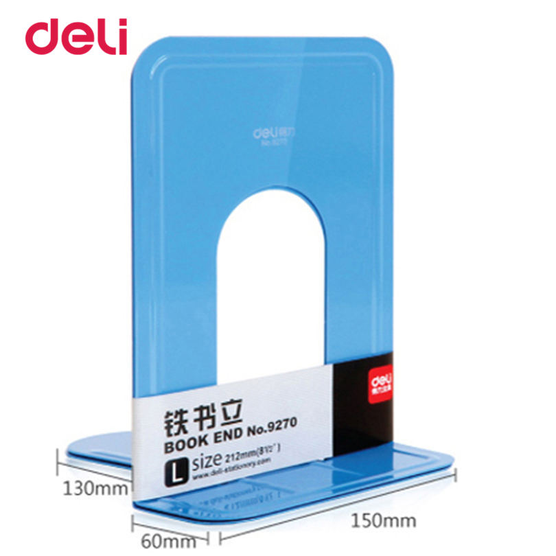 Deli Heavy Duty Metal Bookends Deli Book Ends Solid Blue Colour Bookends Reading Book Shelf 1 Pair Standard Holder Ends 40D9270
