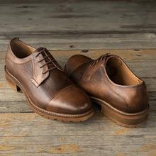 QYFCIOUFU Autumn New Genuine Leather Men Formal Shoe High Quality Vintage Round Toe Wedding Party Dress Shoe Footwear Men's Flat