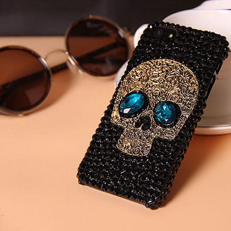 Saphire Diamante hecho a mano de Metal ojo Skull volver Cubierta de la caja del