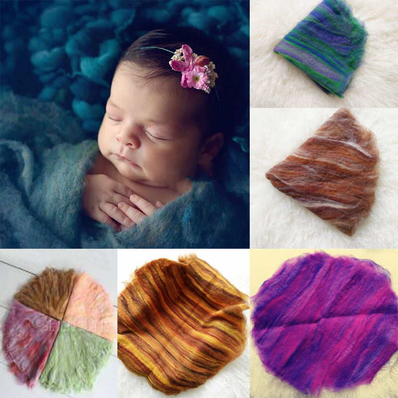 High Quanlity Round Wool Blankets Fotografi Props Nyfödda Blanket Tapisserie Baby Circle Blanket Foto Props Fotografia 60CM X