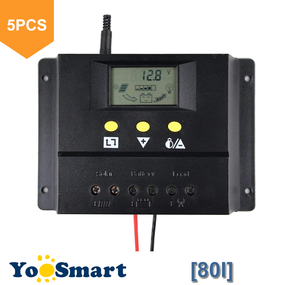 5PCS/LOT Wholesale 80A Solar Charge Controller 12V 24V 1000W 2000W Solar Panel LCD PWM Charging for Off Grid PV Solar System 5pcs lot intersil isl95838hrtz isl95838 95838hrtz qfn dual 3 2 pwm controller for imvp 7 vr1 cpus