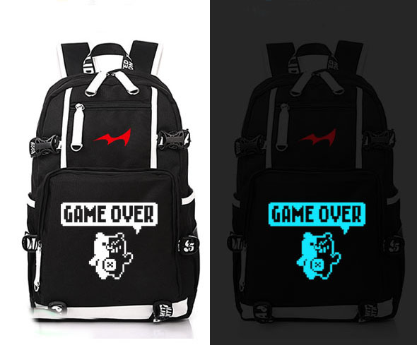 Anime Danganronpa jeu sur Cosplay sac à dos Anime monokuma toile sac lumineux cartable sacs de voyage