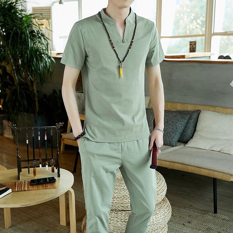 1173.38руб. 30% СКИДКА|Высокое качество, тонкий летний льняной комплект, хлопок, Мужская футболка, тонкий короткий рукав, сплошной цвет, Повседневный, большой размер, брюки, M 5XL|Спортивные костюмы| |  - AliExpress