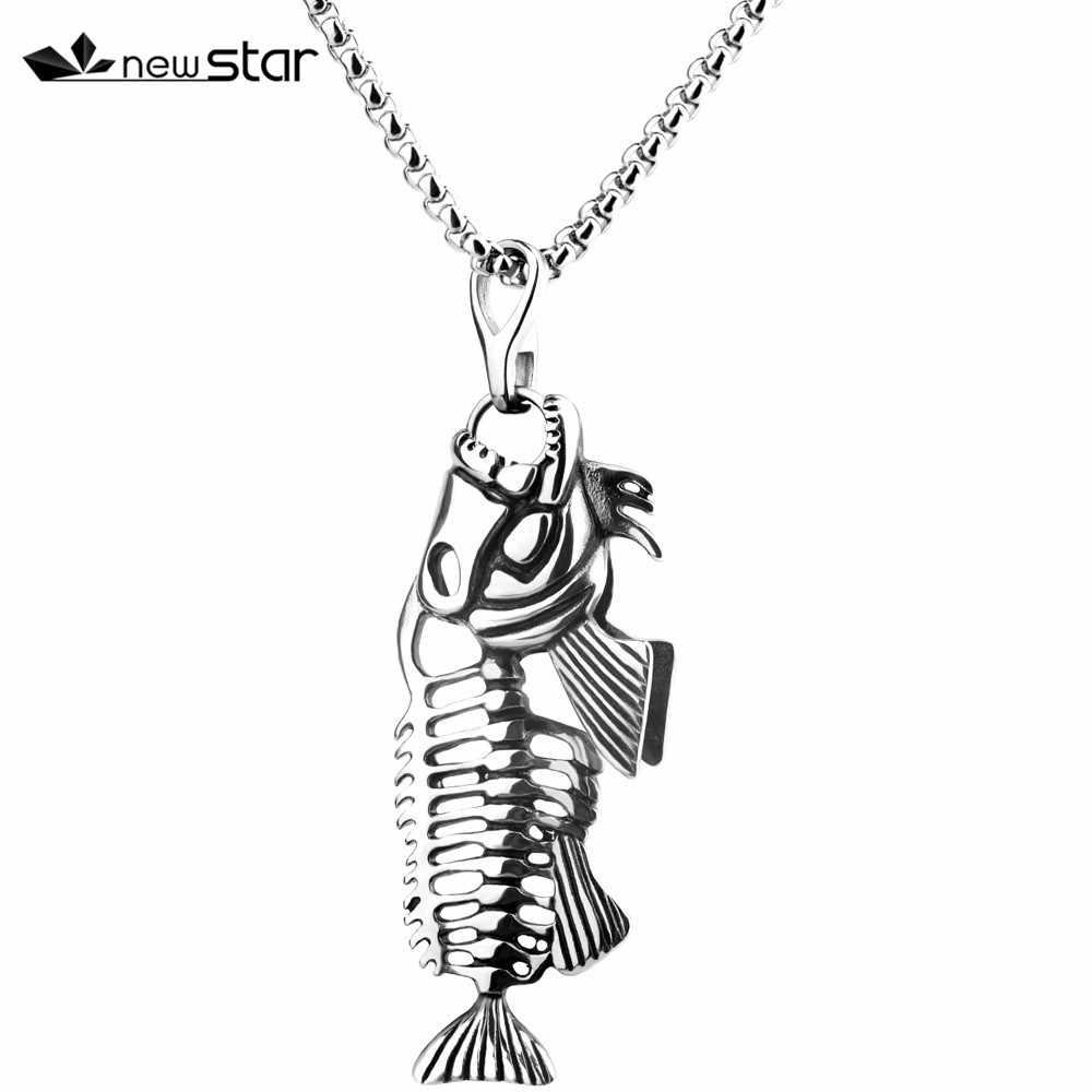 Fishbone mogę zaoferować ekskluzywne kości ryb hak połowów szkielet ze stali nierdzewnej wisiorek Surfer łańcuch naszyjnik biżuteria dla mężczyzn Unisex prezenty