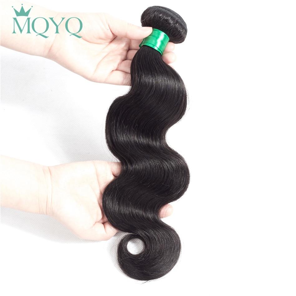 MQYQ Brazilian Hair Weave Bundles Body Wave Human Hair Bundles Natural Color Wavy Extensions