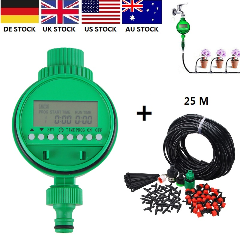 LCD Screen Home Automatic Electronic Water Timer Garden Irrigation Controller Set Programs Device Tools