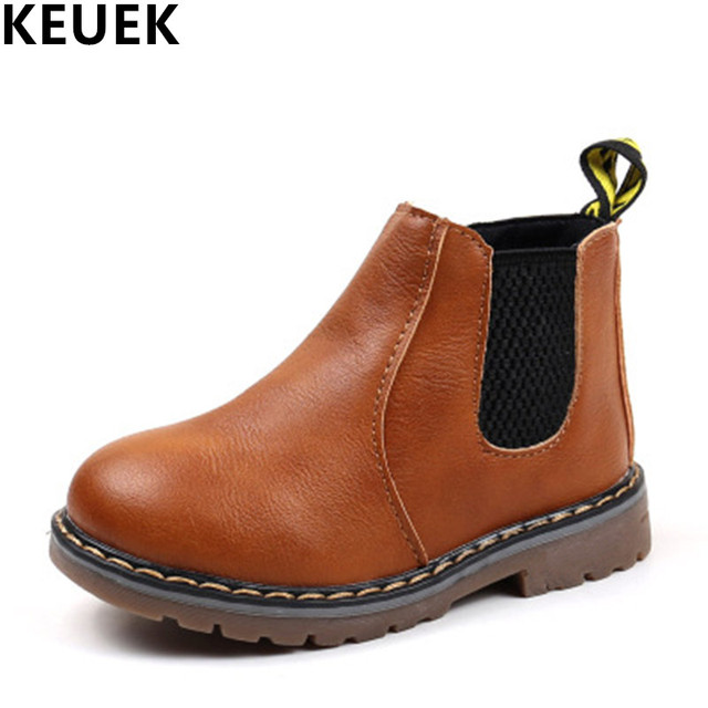 New Arrival PU leather Spring Autumn Children Martin boots Boys Girls shoes  British style Kids Ankle boots 04B a21ff41254c8