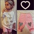 2 PCS Queda Da Criança Do Bebê Dos Miúdos Meninas Sweet Heart imprimir Outfits roupas Carta de Manga Comprida T-shirt Tops + Calças Compridas Calças 1-5Y
