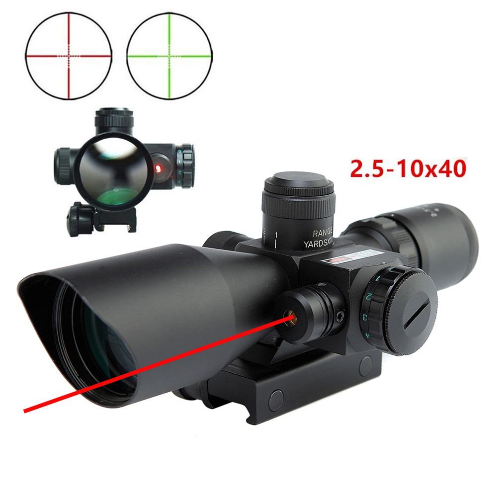 Tactical 2.5-10x40 Red Green Dual Illuminated Riflescope With 650nm Red Dot Laser Sight Hunting Scope High Grade Aluminum.