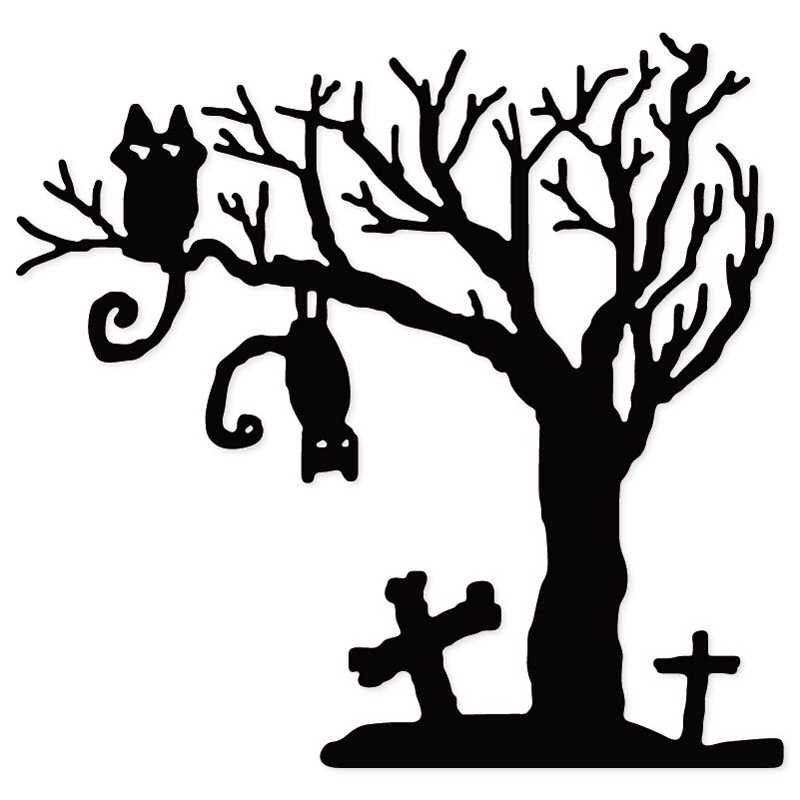 Halloween Tombstone Cat Tree Metal Cutting Dies Stencil for DIY Scrapbooking Card Making Craft dies Decorative Embossing Die Cut