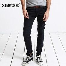 2016 New Arrival SIMWOOD Brand Black Men Pencil Jeans Slim Fit Casual Zipper Fly Denim Pants Plus Size Free Shipping SJ6001
