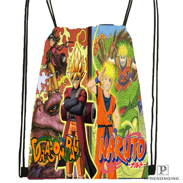 Custom Naruto@1    Drawstring Backpack Bag Cute Daypack Kids Satchel (Black Back) 31x40cm#2018611-2(5)